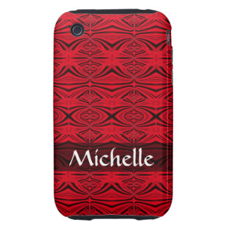Personalized elegant red black pattern tough iPhone 3 covers