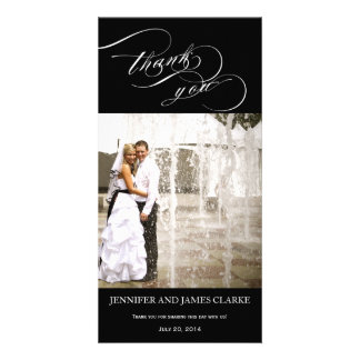 Personalized Elegant Script Wedding Thank You Picture Card