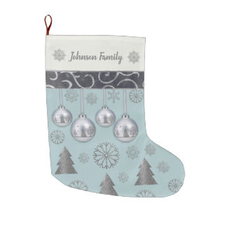 (Personalized) Elegant Silver Bells Large Christmas Stocking