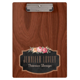 Personalized Elegant Wood Look Rose Gold Glitter Clipboard