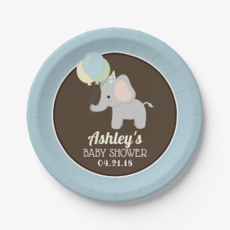 Personalized Elephant Baby Shower Paper Plates