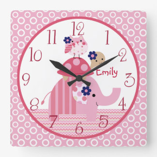 Personalized Ellie/Ella Elephant Stacked Clock