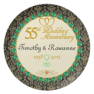 PERSONALIZED Emerald 55th Anniversary Plate