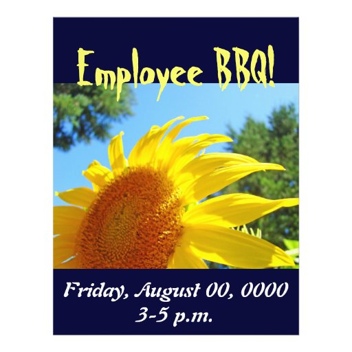 Personalized Employee BBQ flyers Summer Sunflowers