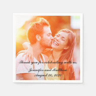 Personalized Engagement Photo Paper Napkins Paper Napkin
