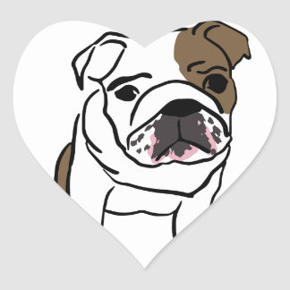 Personalized English Bulldog Puppy Heart Sticker
