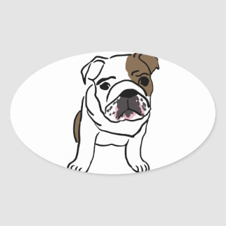 Personalized English Bulldog Puppy Oval Sticker