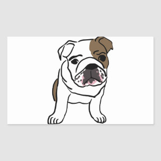 Personalized English Bulldog Puppy Rectangular Sticker