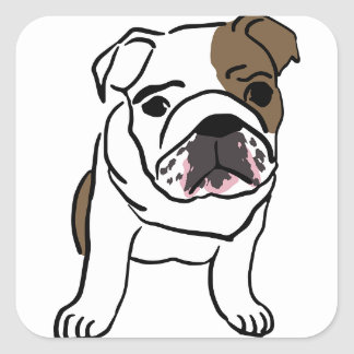Personalized English Bulldog Puppy Square Sticker
