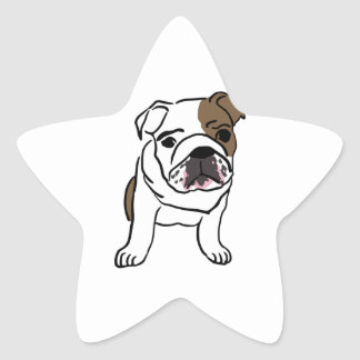 Personalized English Bulldog Puppy Star Sticker