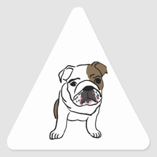 Personalized English Bulldog Puppy Triangle Sticker