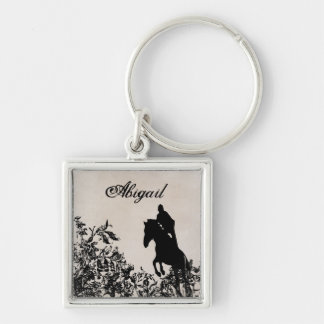 Personalized English Jumping Horse Vintage Floral Key Ring