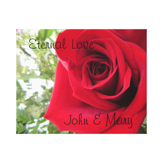 Personalized Eternal Love Red Rose Wrapped Canvas Canvas Print
