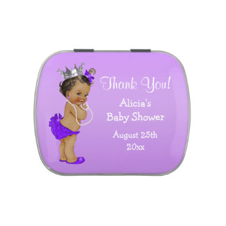 Personalized Ethnic Princess Baby Shower Jelly Belly Tin