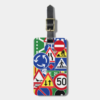 Personalized European Traffic Signs Collage Luggage Tag