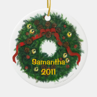 Personalized Evergreen Wreath Ornament