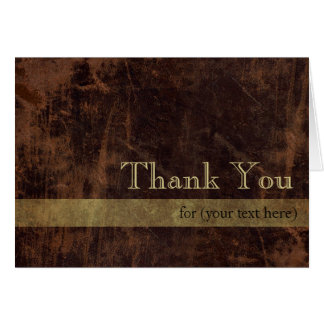 Personalized Executive Brown Gold Thank You Cards