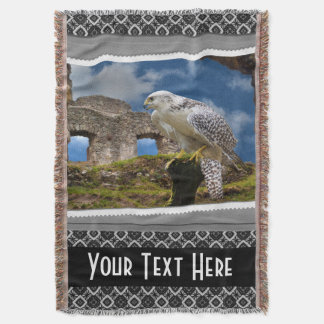 Personalized Falconry Bird Photography Print Throw Blanket