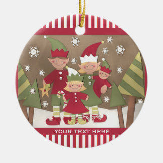 Personalized Family (4) Christmas Greeting Christmas Ornament