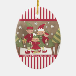 Personalized Family (4) Christmas Greeting Christmas Ornaments