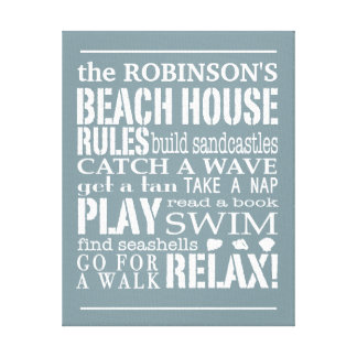 Personalized Family Beach House Rules Blue | White Stretched Canvas Prints