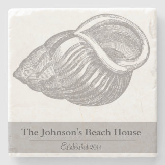 Personalized Family Beach House Seashell Coasters