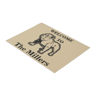 Personalized Family Bulldog Welcome Doormat Mat
