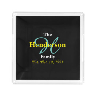 Personalized Family Established - Name & Initial - Acrylic Tray
