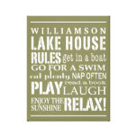 Personalized Family Lake House Rules Green   White Gallery Wrap Canvas