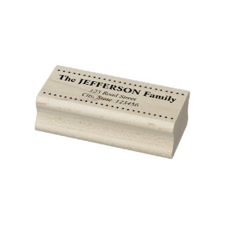 Personalized Family Name & Address & Stars Rubber Stamp