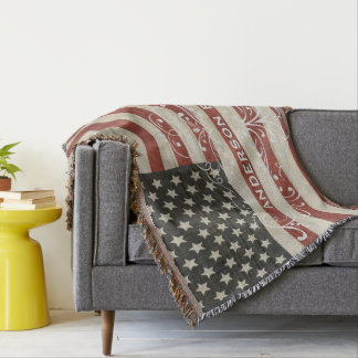 Personalized Family Name America Flag Wood Texture Throw Blanket