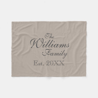 Personalized family name beige fleece blanket
