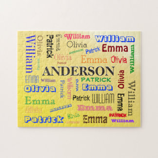 Personalized Family Name Custom Word Cloud Jigsaw Puzzle