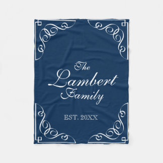 Personalized family name navy blue fleece blanket