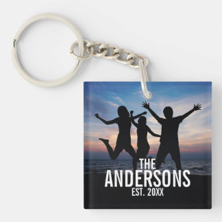 Personalized Family Photo with Family Name Key Ring