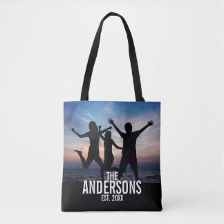 Personalized Family Photo with Family Name Tote Bag