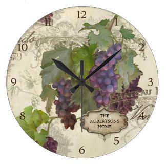 Personalized Family Rustic California Vineyard Large Clock