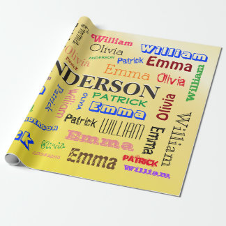 Personalized Family Tree Custom Name Collage Wrapping Paper