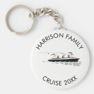 Personalized Family Vacation Cruise | Vintage Ship Key Ring