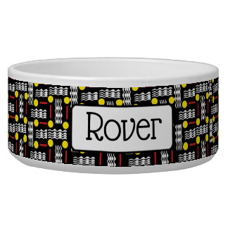 Personalized Fancy Black Yellow and Red Dog Bowl