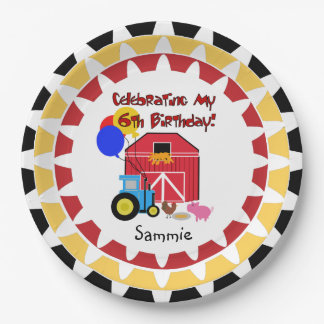 Personalized Farm 6th Birthday Paper Plates 9 Inch Paper Plate