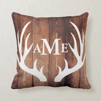 Personalized - Farmhouse Barn Wood Deer Antlers Cushion
