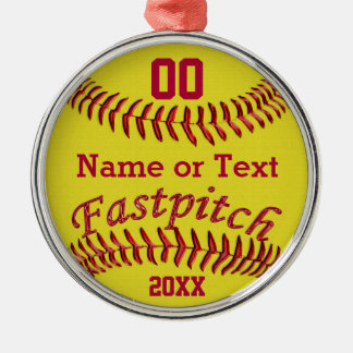 Personalized Fastpitch Softball Gifts for Girls Metal Ornament