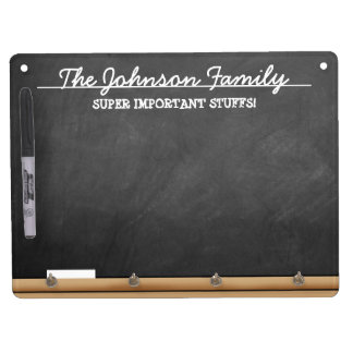 Personalized Faux-Chalkboard Dry Erase Board With Key Ring Holder