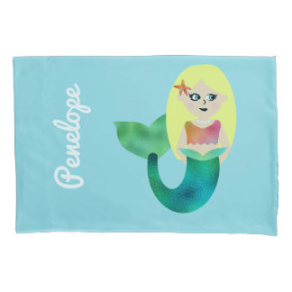 Personalized Faux Foil Blonde Mermaid Girls Pretty Pillowcase