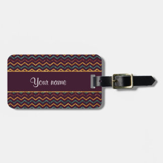 Personalized Faux Glitter Chevrons on Purple Luggage Tag
