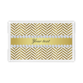 Personalized Faux Gold Foil Chevron Bling Diamonds Acrylic Tray