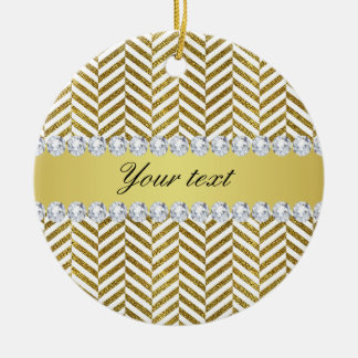 Personalized Faux Gold Foil Chevron Bling Diamonds Ceramic Ornament