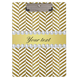 Personalized Faux Gold Foil Chevron Bling Diamonds Clipboard