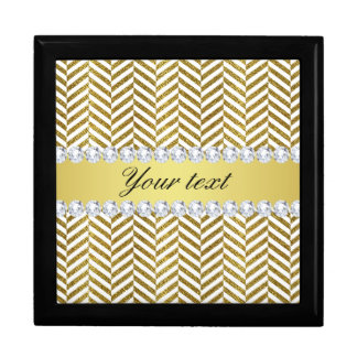 Personalized Faux Gold Foil Chevron Bling Diamonds Gift Box